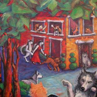 Art: House of Dogs (sold) by Artist Virginia Ann Zuelsdorf