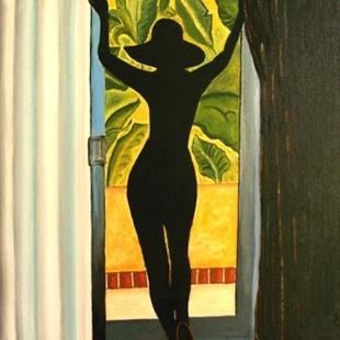Art: Lookin' Out a Jamaican Tropical Window by Artist Lar Shackelford