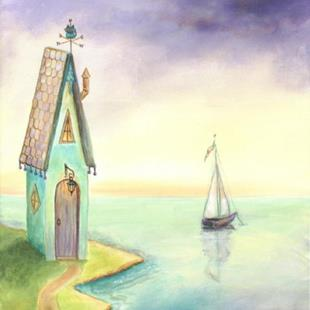Art: Fairy Tale House by the Sea by Artist Cynthia Schmidt