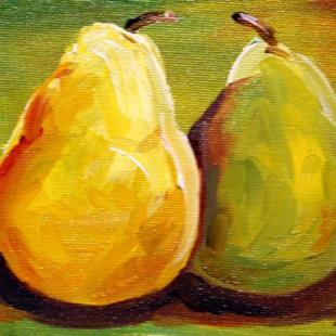 Art: Green Small Pears by Artist Laurie Justus Pace