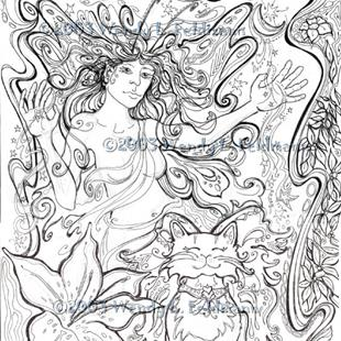Art: Tiger Lily Faerie Lady with kitty by Artist Wendy L Feldmann