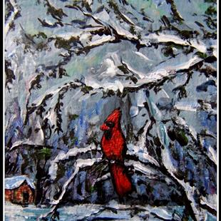 Art: Winter Cardinal ~ ACEO by Artist Dana Marie