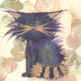 Art: Purple Cranky Cat   by Artist Cynthia Schmidt