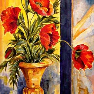 Art: Poppies with Brass Vase by Artist Diane Millsap