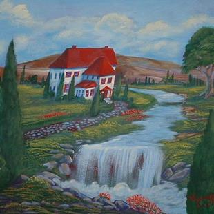 Art:  Red Roof Villa by Artist Virginia Kilpatrick
