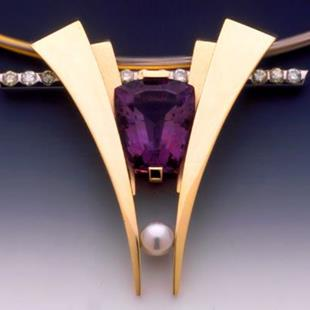 Art: Pendant with Amethyst, Diamonds and Pearl by Artist John Biagiotti