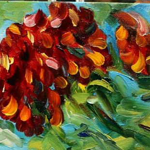 Art: Zinnia Red by Artist Laurie Justus Pace
