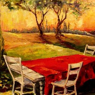 Art: Red Tablecloth by Artist Diane Millsap