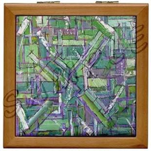 Art: JADE WOOD PORCELAIN TILE JEWELRY BOX  by Artist Dawn Hough Sebaugh