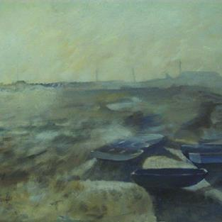 Art: Blue Boat (Leigh-On-Sea, Essex) by Artist John Wright