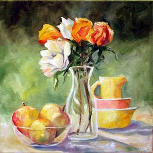 Art: Roses at Grandmothers by Artist Laurie Justus Pace