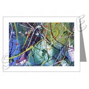 Art: ABSTRACT ART GREETING CARDS MOON FANTASY DAWN EBSQ wwao by Artist Dawn Hough Sebaugh