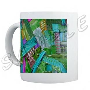 Art: ABSTRACT ART MUG POETRY MODERN DAWN EBSQ WWAO by Artist Dawn Hough Sebaugh