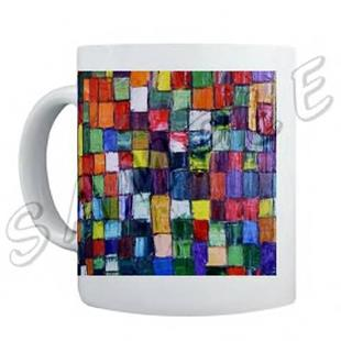 Art: ABSTRACT ART MUG BRAZEN MODERN DAWN EBSQ WWAO by Artist Dawn Hough Sebaugh