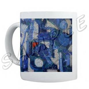Art: ABSTRACT ART MUG LA JAZZ MODERN DAWN EBSQ WWAO by Artist Dawn Hough Sebaugh