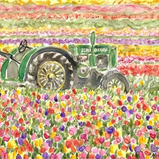 Art: Oregon Tulip Field and Tractor by Artist Melinda Dalke