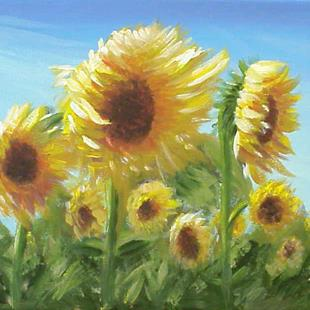 Art: ACEO Art Card PRINT Sunflower Field #1 SOLD by Artist Terri L West
