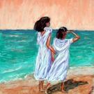 Art: Girls Looking out to Sea by Artist Shoshana Avramovitz