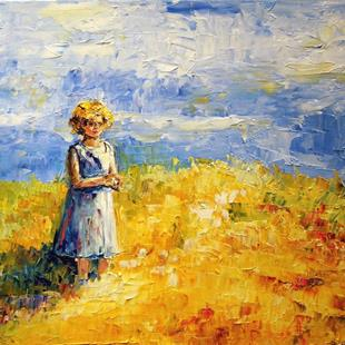 Art: Child on Hill  by Artist Laurie Justus Pace