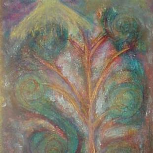 Art: Guarding The Tree Of Life ACEO ATC SOLD by Artist Terri L West