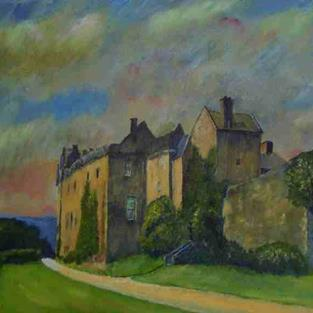 Art: Brodick Castle, Arran by Artist John Wright