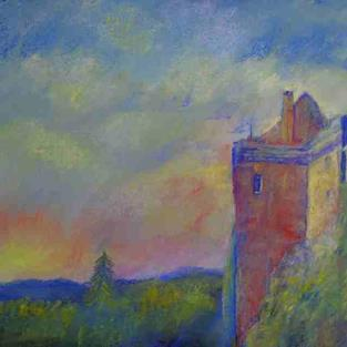Art: The Day Is Ending (Brodick Castle, Arran) by Artist John Wright