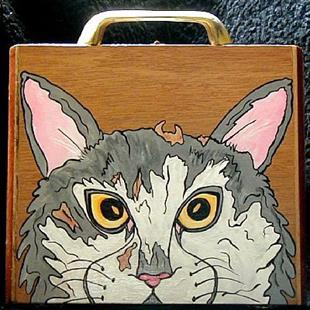 Art: DIABLO GATO CIGAR BOX PURSE  by Artist Jen Thario