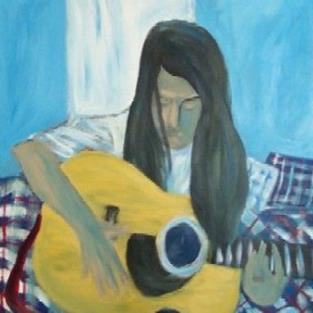 Art: self-portrait (while my guitar gently weeps) by Artist Amie R Gillingham