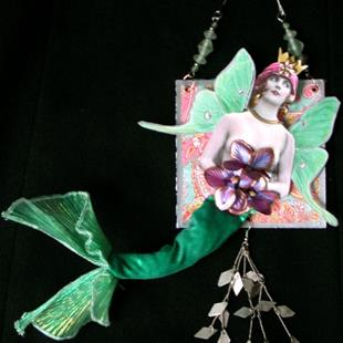 Art: SOLD - Green Mermaid - OOAK PAPER DOLL by Artist Shawn Marie Hardy