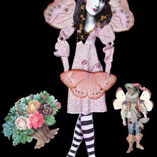 Art: SOLD - Malynne and Her Things OOAK Fairy Paper Doll by Artist Shawn Marie Hardy