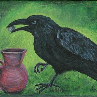 Art: The Crow and the Pitcher by Artist Sara Field