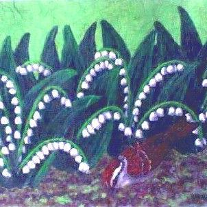 Art: White Bells(SOLD) by Artist Jackie K. Hixon