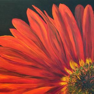Art:  	Red Gerber Daisy Floral Art 2006 by Artist Mary Jo Zorad
