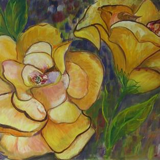Art: Yellow Rose, SOLD by Artist Delilah Smith
