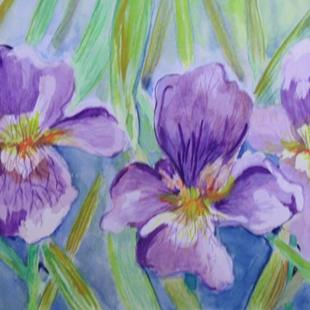 Art: Three Iris-SOLD by Artist Delilah Smith
