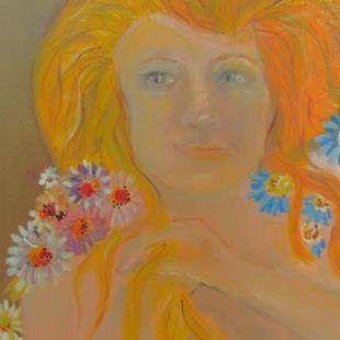 Art: Mother Nature with Daisies by Artist Delilah Smith