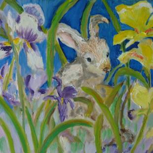 Art: Bunny in the Iris by Artist Delilah Smith