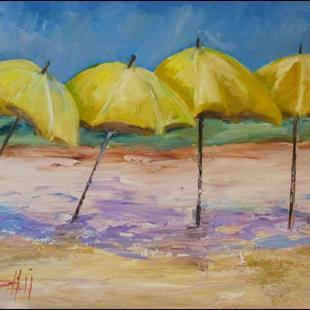Art: Yellow Beach Umbrellas (800x622).jpg by Artist Delilah Smith