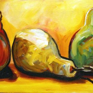Art: red, green and yellow pears by Artist Laurie Justus Pace