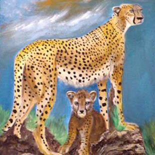 Art: Cheetah Mom and Baby by Artist Dia Spriggs