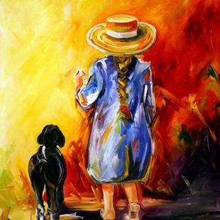 Art: Heading Home a Girl and her Goat by Artist Laurie Justus Pace
