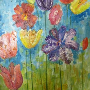 Art: Abstract Tulips, SOLD by Artist Delilah Smith