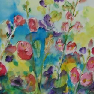 Art: Hollyhocks. SOLD by Artist Delilah Smith