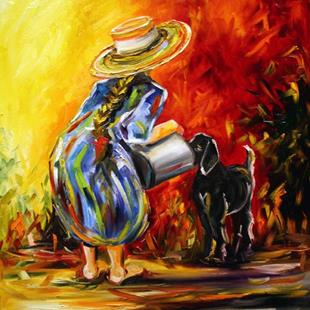 Art: feeding time ~ girl and goat series by Artist Laurie Justus Pace