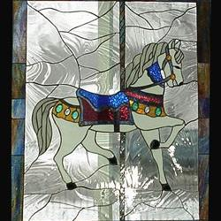 Art: Carousel Horse Series No. 1 Stained Glass Window Panel by Artist Phil Petersen
