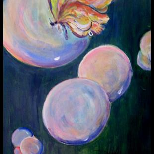 Art: Bubbles and Butterfly by Artist Delilah Smith