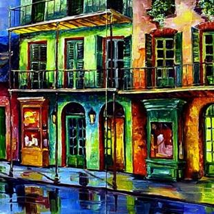 Art: Rainy French Quarter - Diptych - SOLD by Artist Diane Millsap