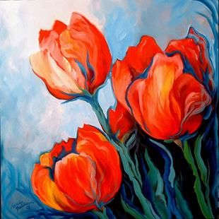 Art: RED TULIPS BLUE SKY by Artist Marcia Baldwin
