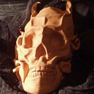 Art: Horned Leather Skull by Artist Barbara Doherty (MidnightZodiac Leather)