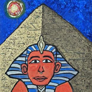 Art: Egyptian Sphinx and Pyramid at Night by Artist Diane G. Casey